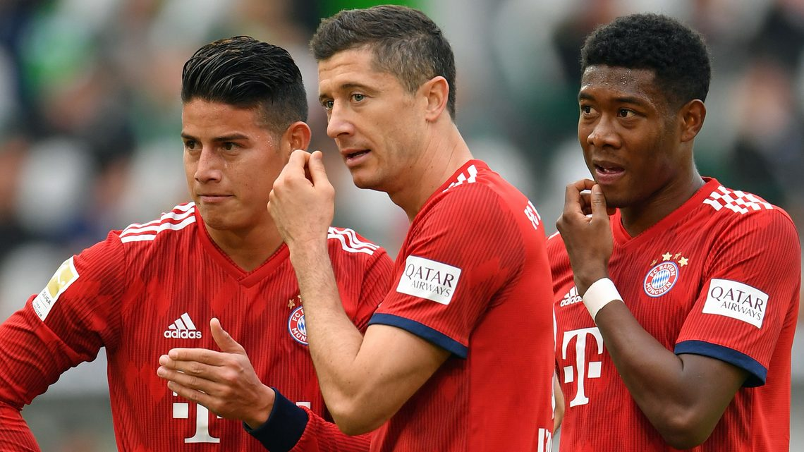 591fcc607 James Rodriguez (l.) joined Bayern Munich from Real Madrid in July. What  are some of the German terms Robert Lewandowski (c.) - here since 2010 - and  David ...