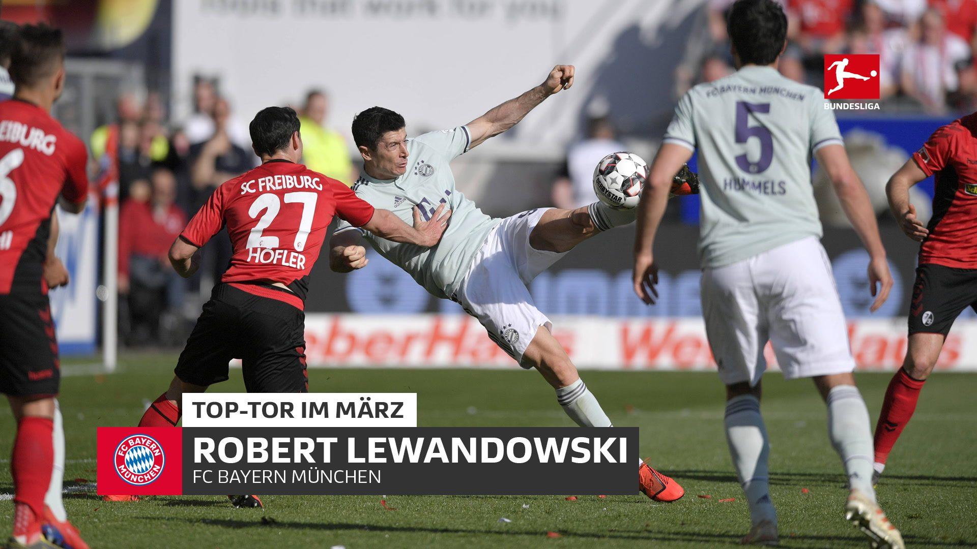 Bayern-Star Lewandowski erzielt das Top-Tor im März