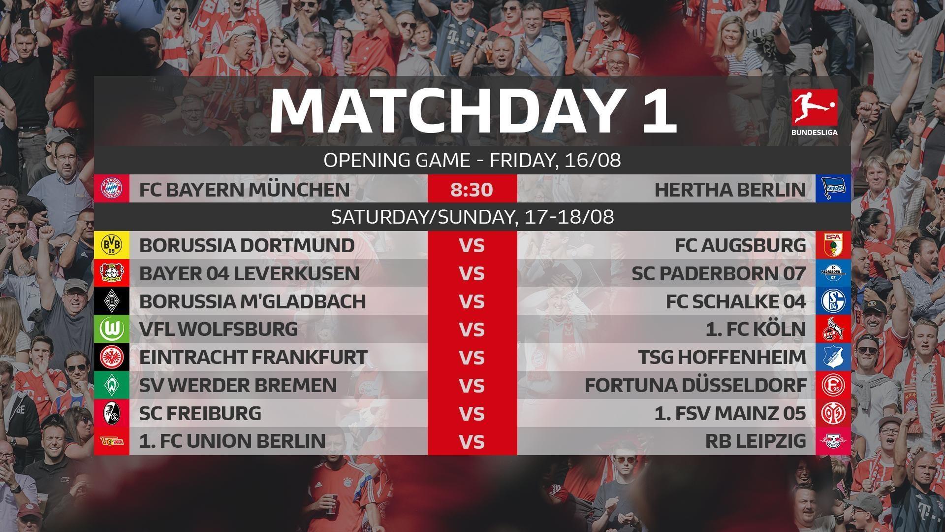 Bundesliga 2019 20 Fixtures Bundesliga Opener Between