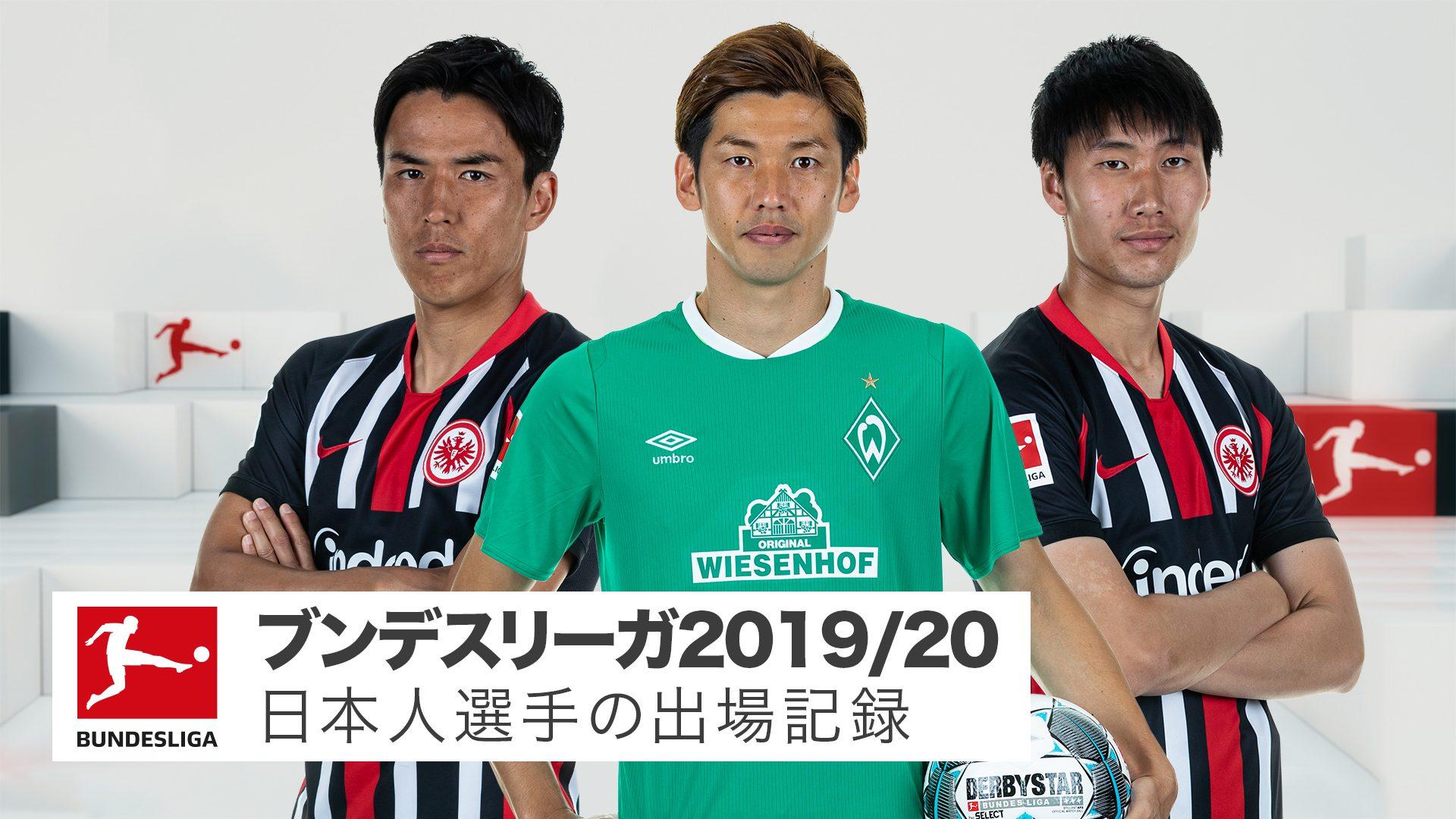 日本人選手 2019/20シーズン出場記録