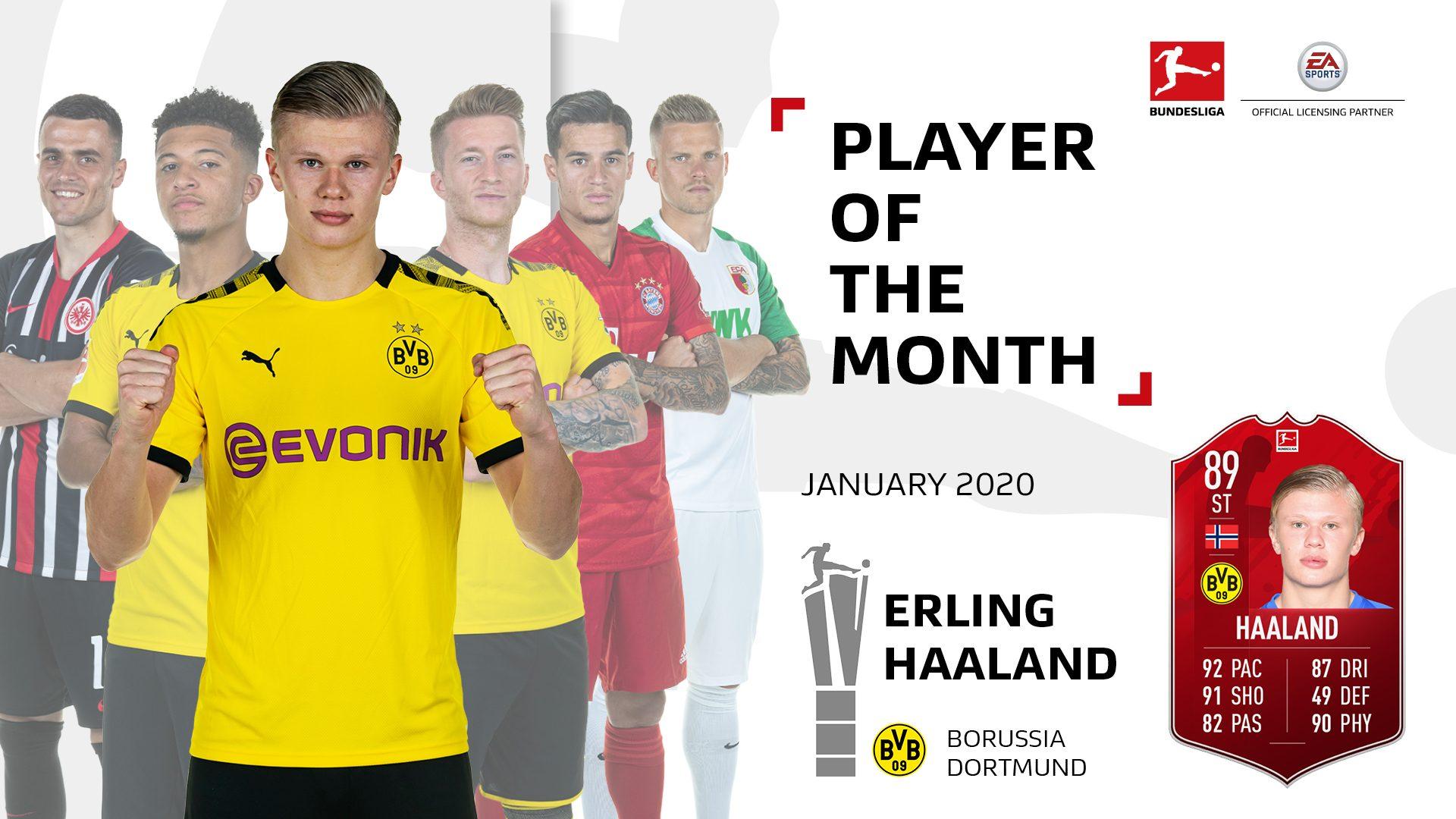Erling Haaaland menjadi pemain terbaik bulan Januari Liga Jerman musim ini.