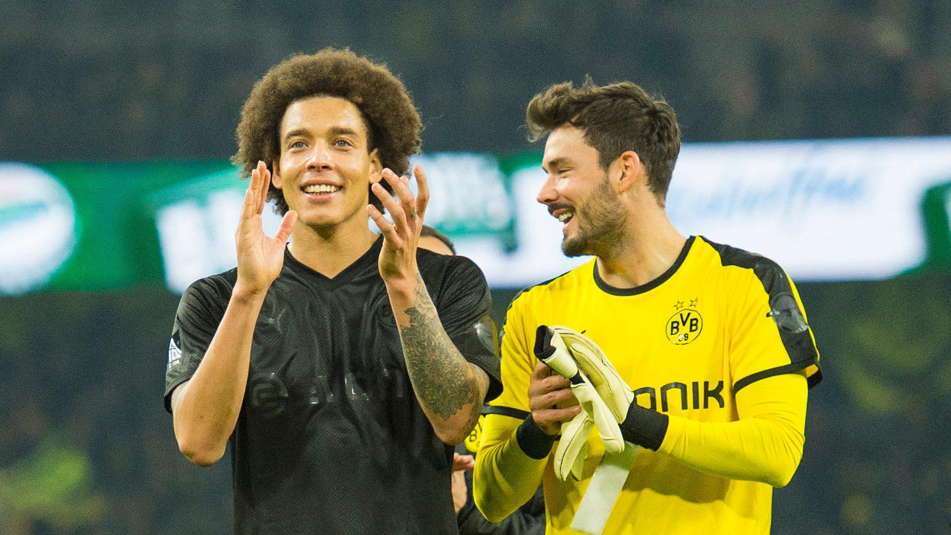 Bundesliga   Borussia Dortmund pair Axel Witsel and Roman Bürki ...