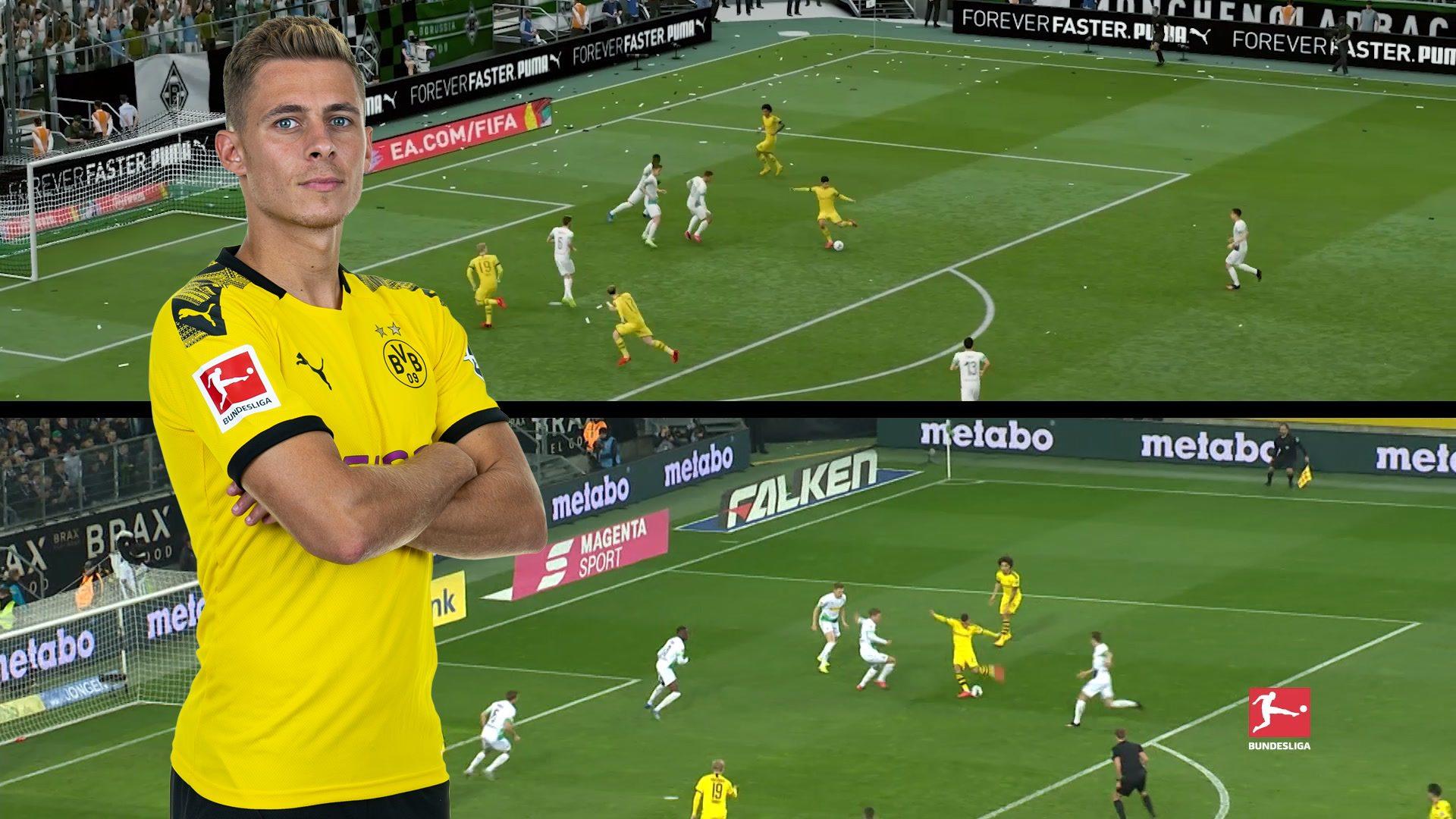 Nachgestellte Tore mit FIFA20: Hazard gegen Gladbach