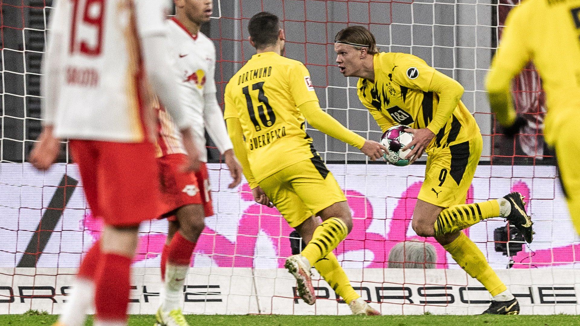 Haaland double as Dortmund down Leipzig
