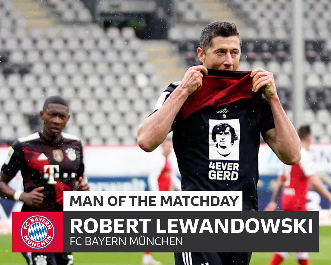 Bundesliga   Bayern Munich's Robert Lewandowski: MD33's Man of the Matchday  levels Gerd Müller's 40-goal single-season record
